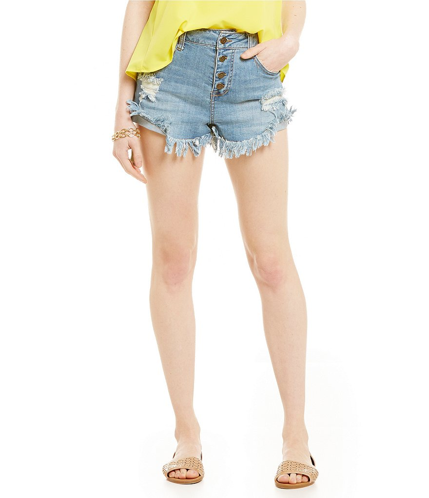Celebrity Pink Button-Front Distressed Denim Shorts