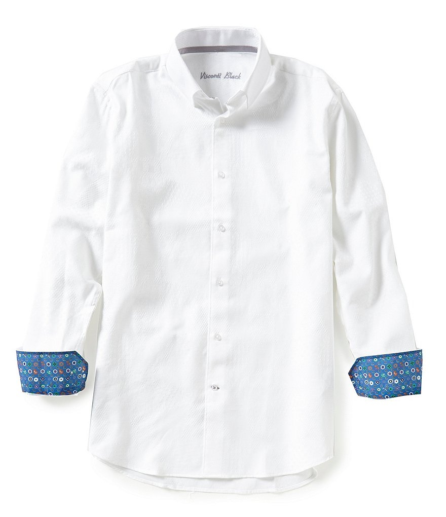 Visconti Long-Sleeve Solid Jacquard Woven Shirt