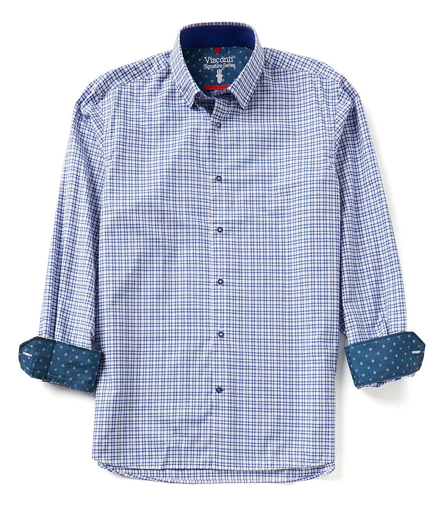 Visconti Long-Sleeve Dobby Plaid Woven Shirt