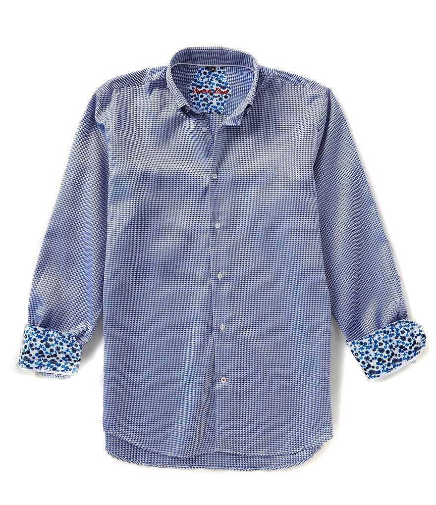 Visconti Long-Sleeve Textured Dobby Woven Shirt