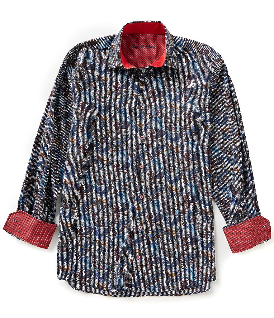 Visconti Long-Sleeve Repeating Paisley Print Woven Shirt