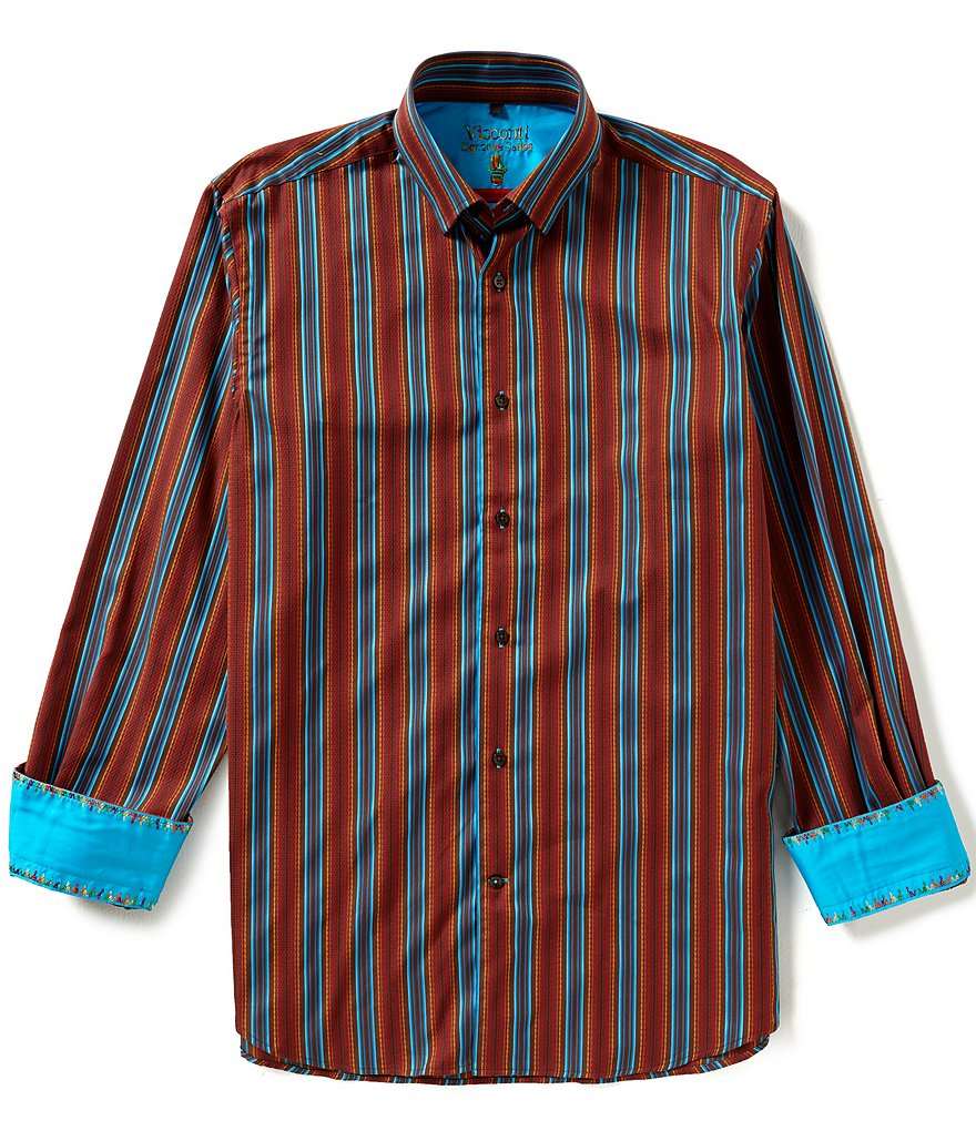 Visconti Long-Sleeve Jacquard Stripe Woven Shirt