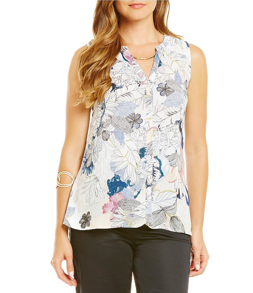 Spense Printed Split Mandarin Neck Woven Top