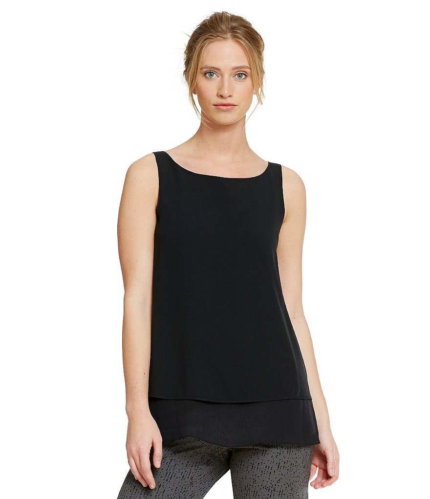 Eileen Fisher Ballet Neck Shell With Sheer Silk Hem