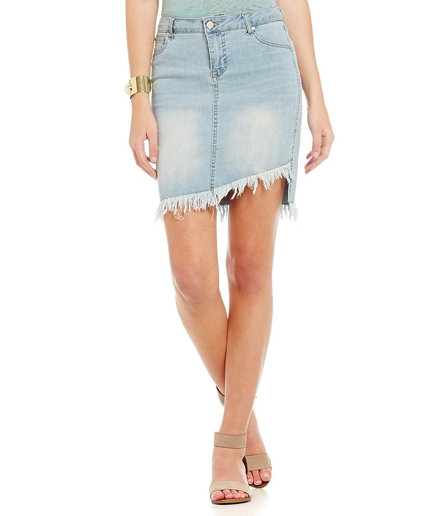 Celebrity Pink Denim Asymmetrical Raw-Edge Hem Skirt