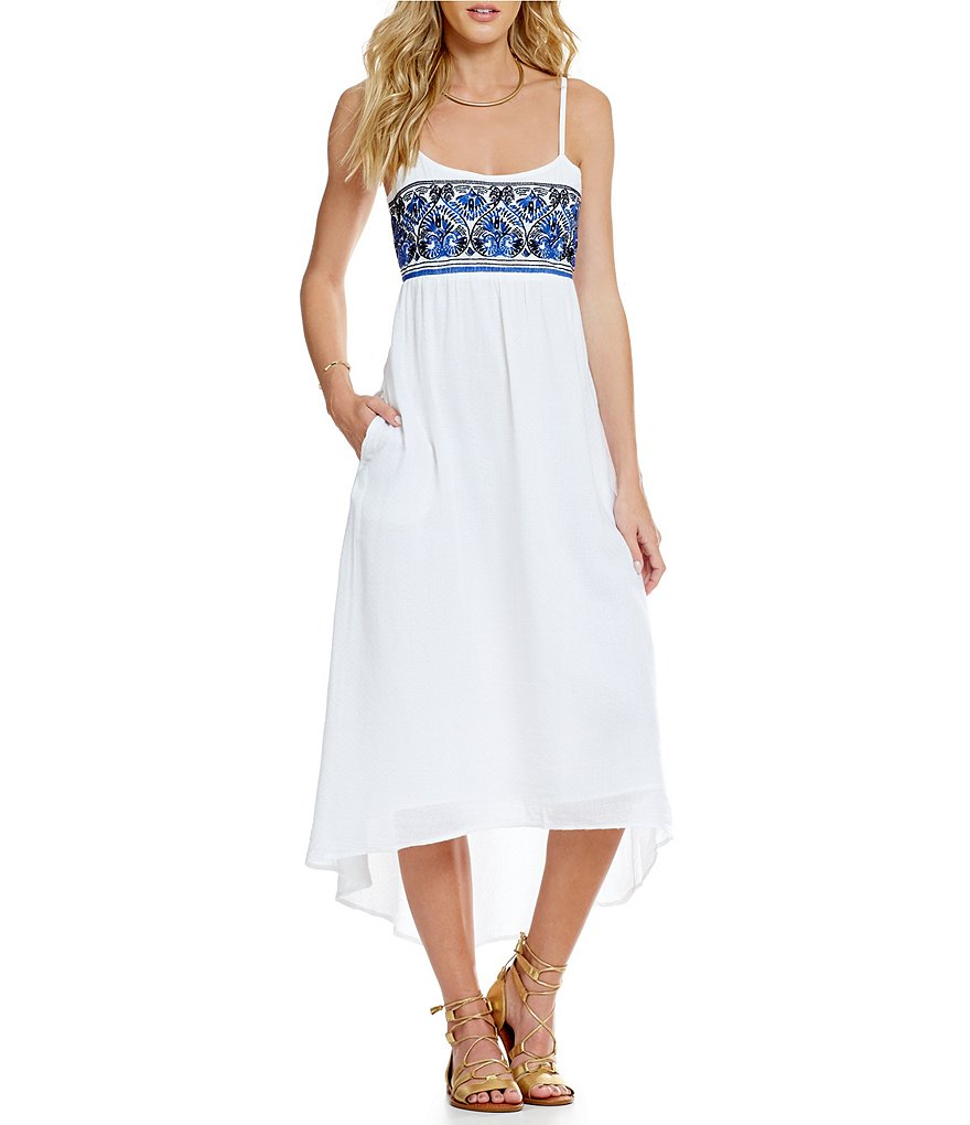 Roxy Wild Horses Spaghetti-Strap Embroidered-Bodice Dress