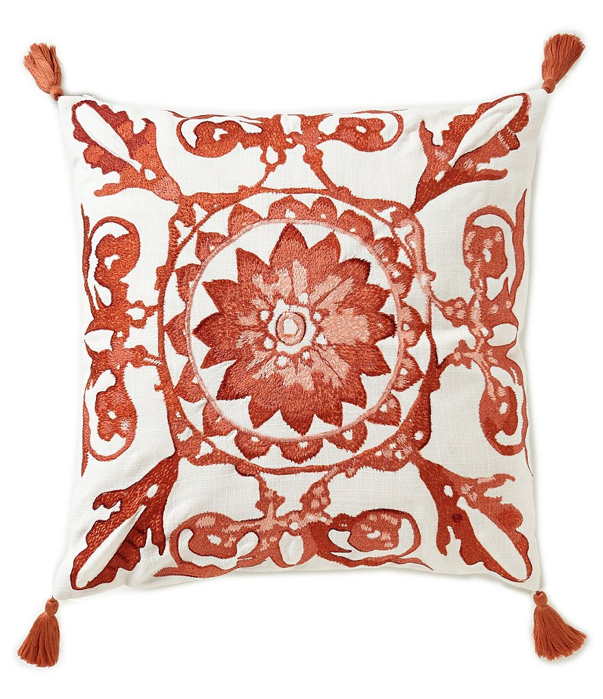 Southern Living Adelia Tasseled Embroidered Tile Square Pillow