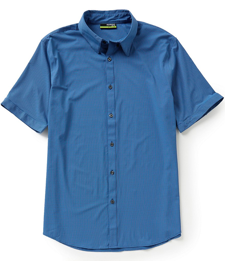 Murano Performance Checked Slim-Fit Short-Sleeve Shirt