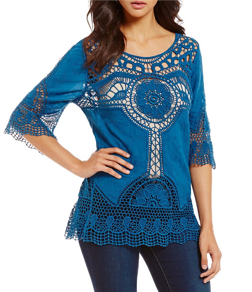 Bobeau 3/4 Sleeve Crochet Top