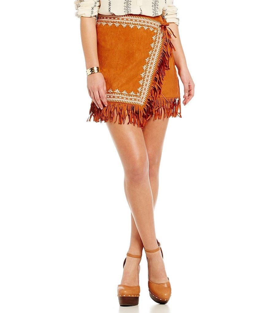 Blu Pepper Faux-Suede Fringe Wrap Skirt