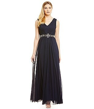 Jessica Howard V-Neck Beaded Waist Gown