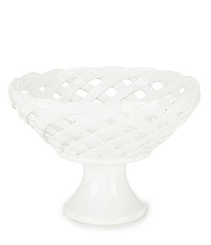 Southern Living Earthenware Footed Woven Basket Bowl