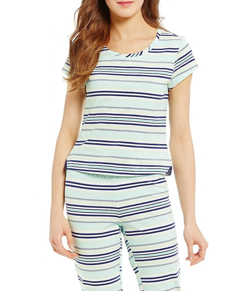 Jasmine & Ginger Striped Lace-Inset Sleep Top