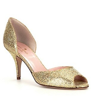 kate spade new york Sage Metallic Fabric Peep Toe Pumps