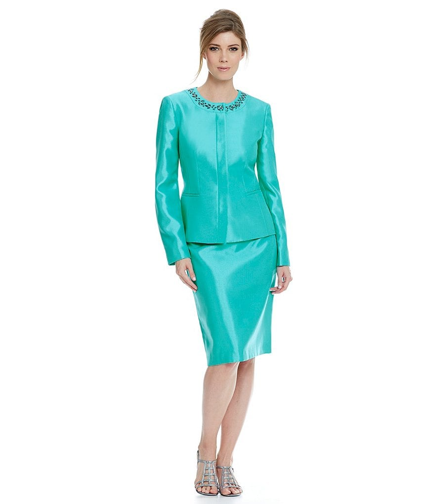 Kasper Shiny Embellished Skirt Suit