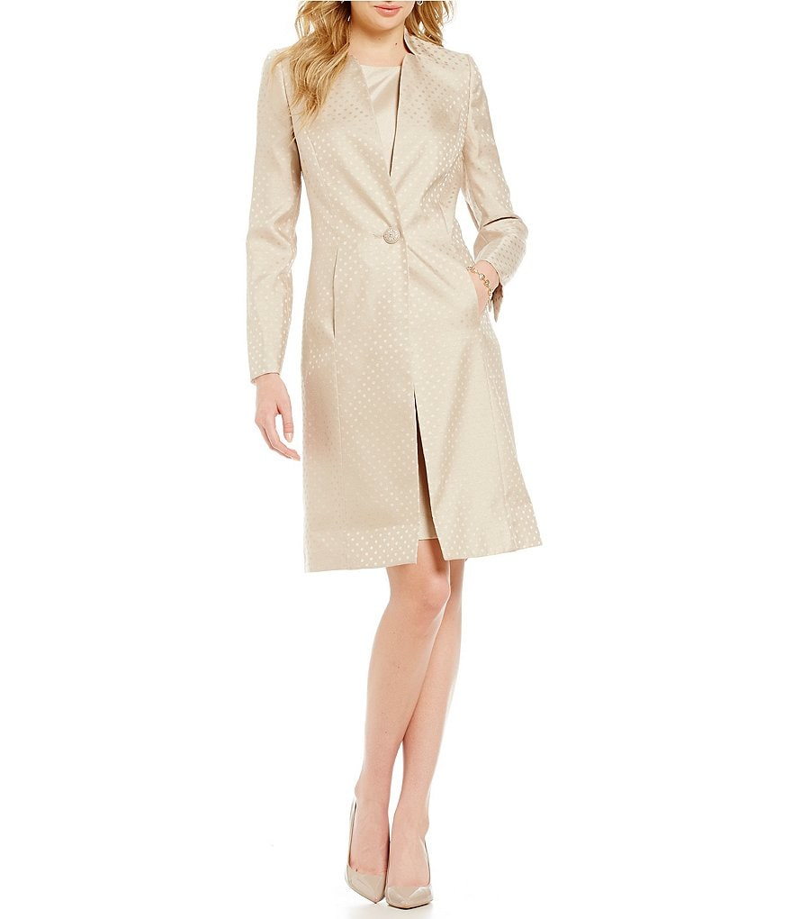 Kasper One-Button Jacquard Jacket Dress