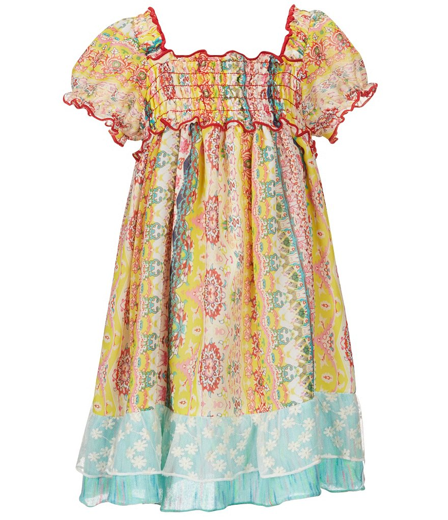 Ella and Lulu Little Girls 2T-6X Mixed-Media Chiffon Peasant Dress