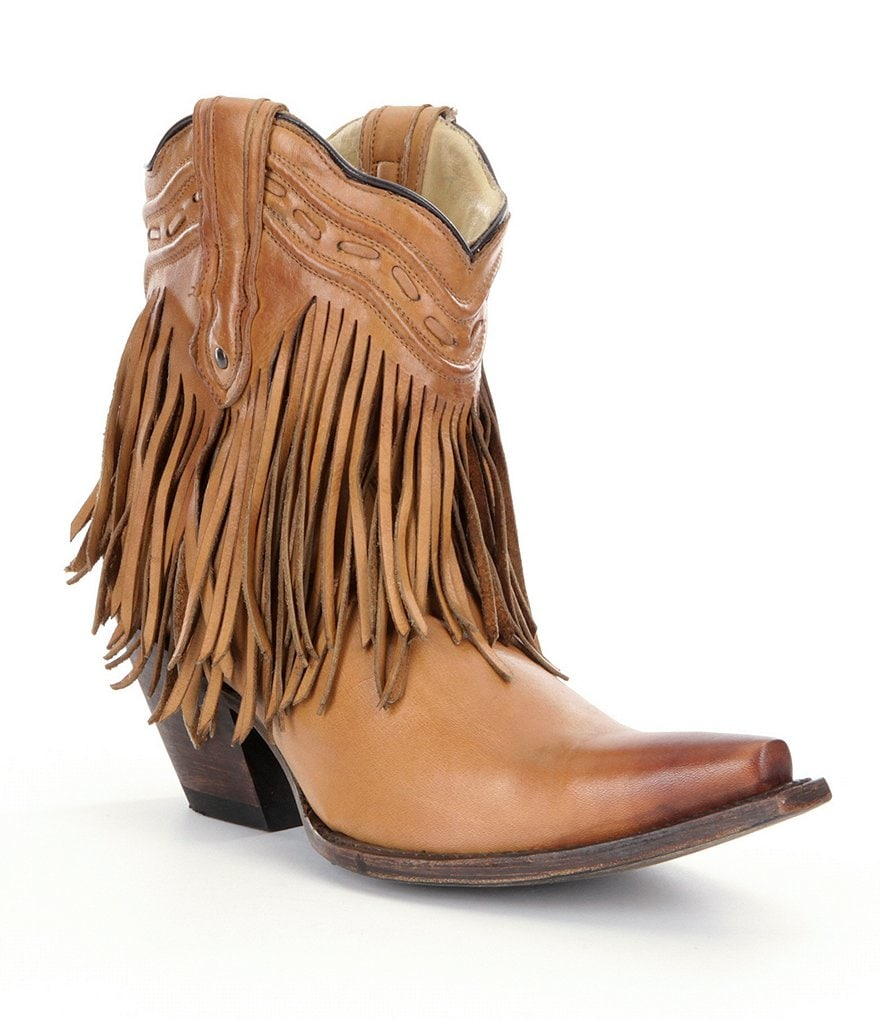 Corral Boots Saddle Fringe and Whip Stitch Mid-Calf Boots