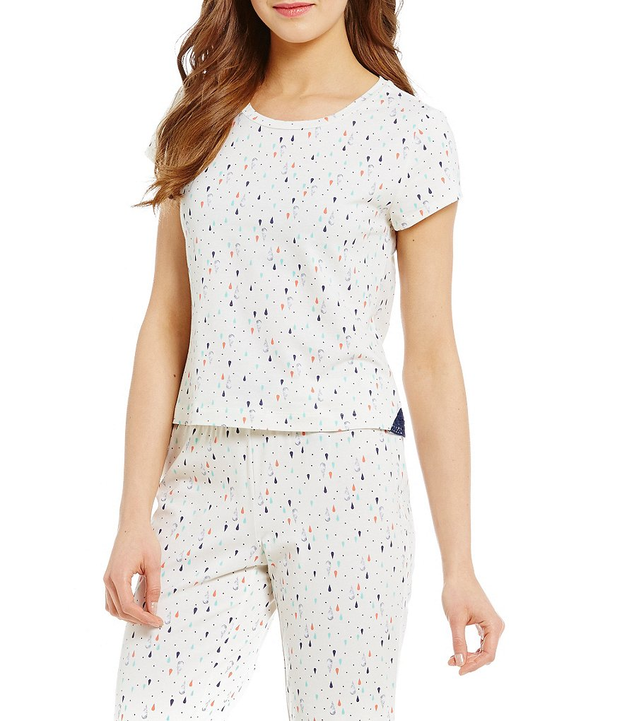 Jasmine & Ginger Raindrop-Print Sleep Top