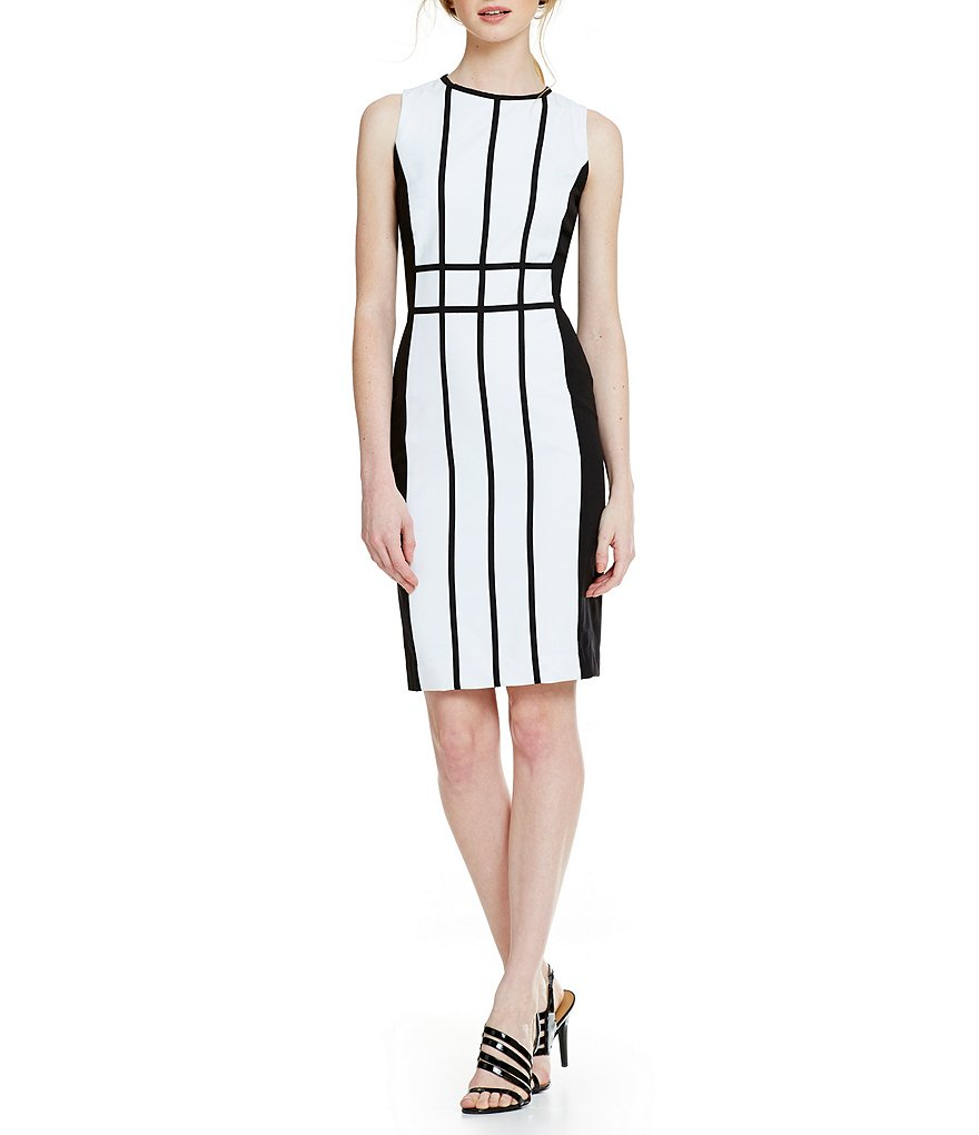 Calvin Klein Colorblock Pipping Sheath Dress