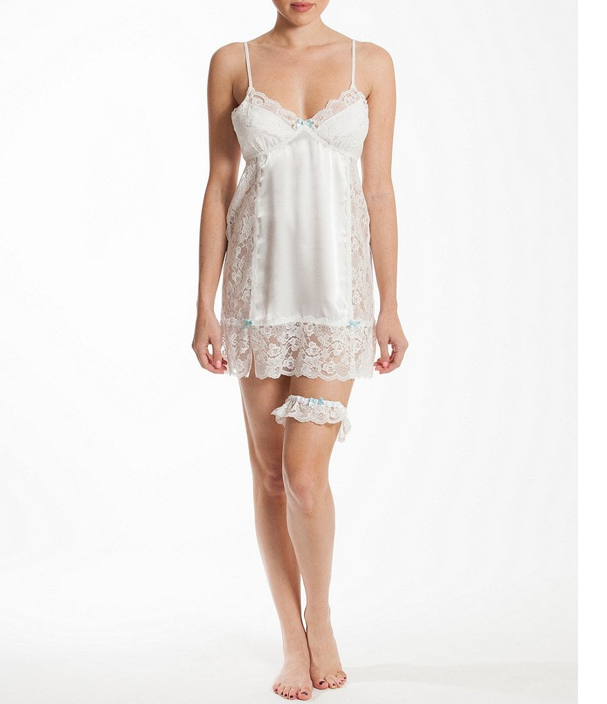 In Bloom by Jonquil Satin & Lace Chemise with Garter