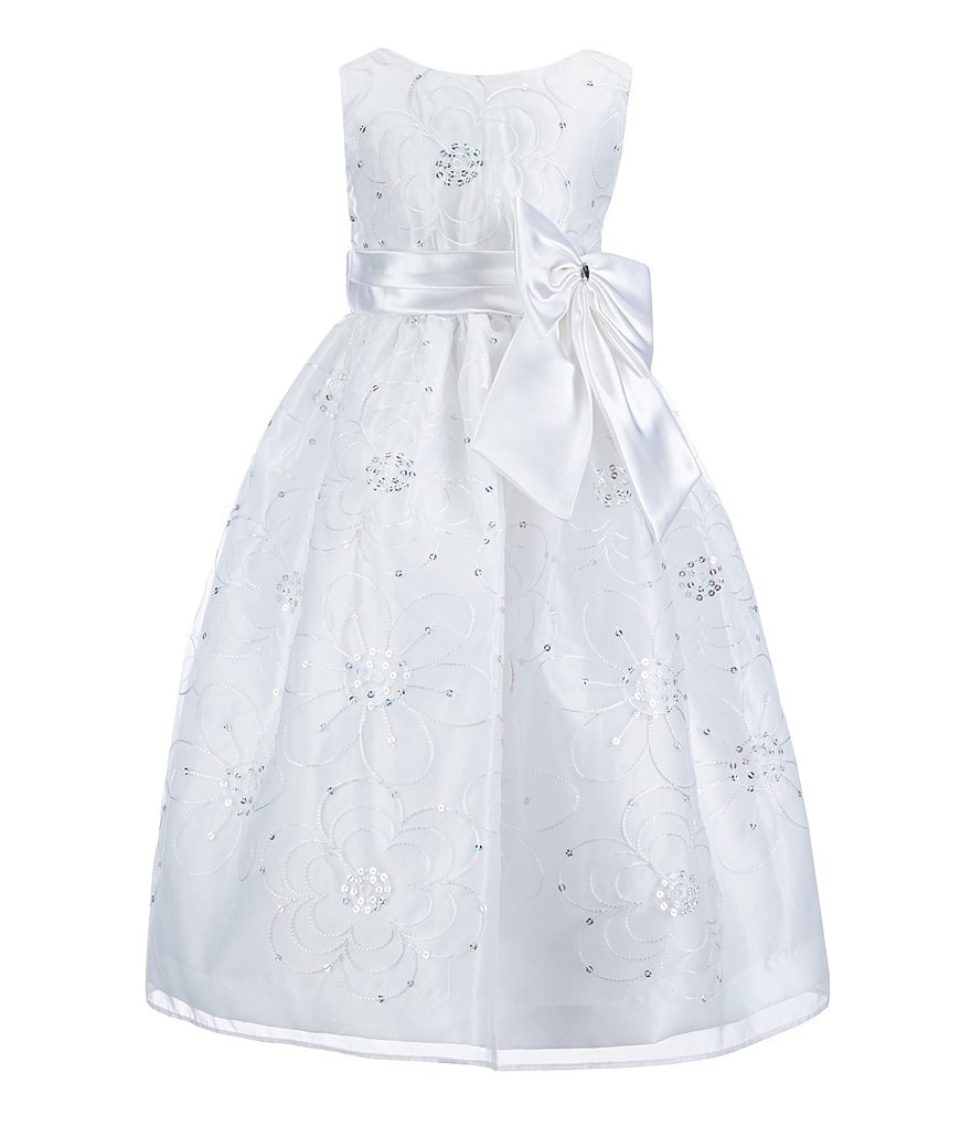Jayne Copeland Little Girls 2T-6X Sequin-Embellished Floral-Embroidered Organza-Overlay Dress