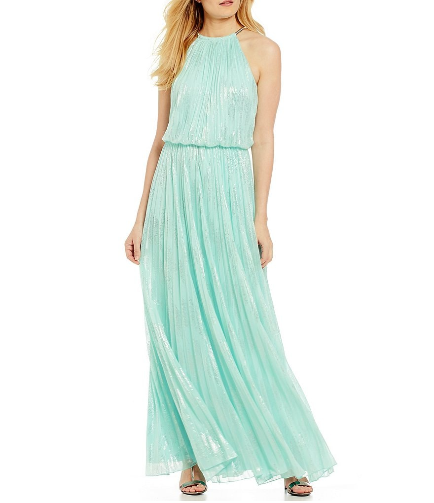 Calvin Klein Foil Chain Neck Pleated Gown