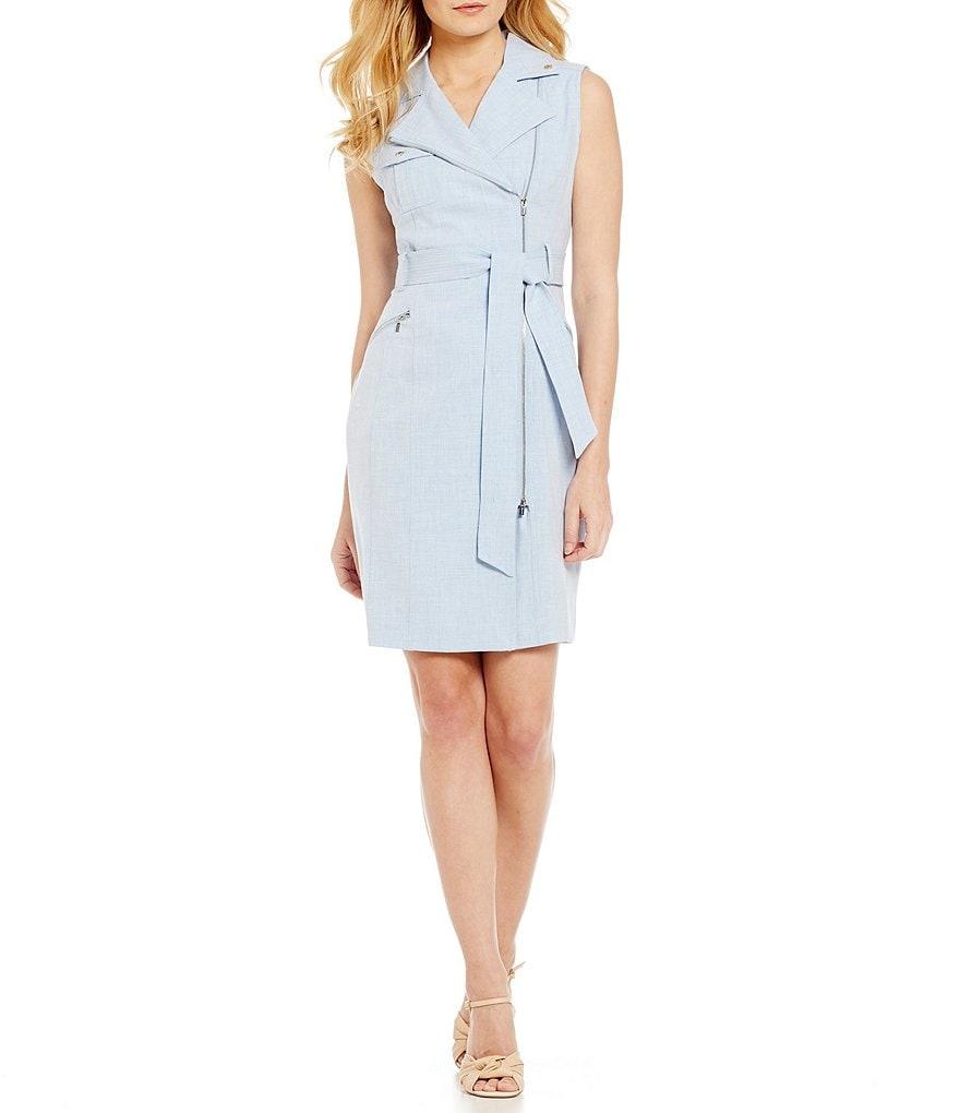 Calvin klein belted chambray shirt dress dillards for Belted chambray shirt dress
