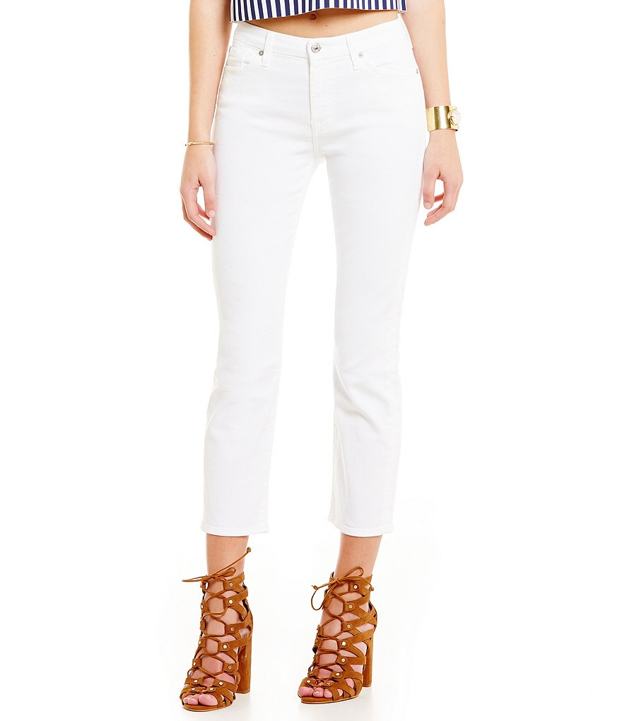 7 For All Mankind Kimmie Crop White Jeans