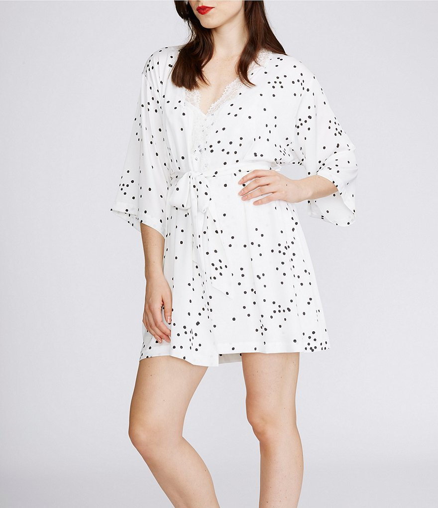 kate spade new york Dotted Charmeuse Robe