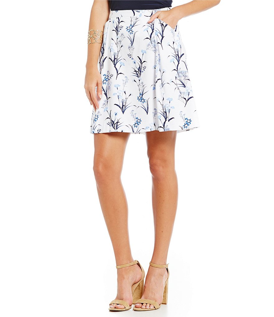 CeCe Tulum Bouquet Printed Skirt