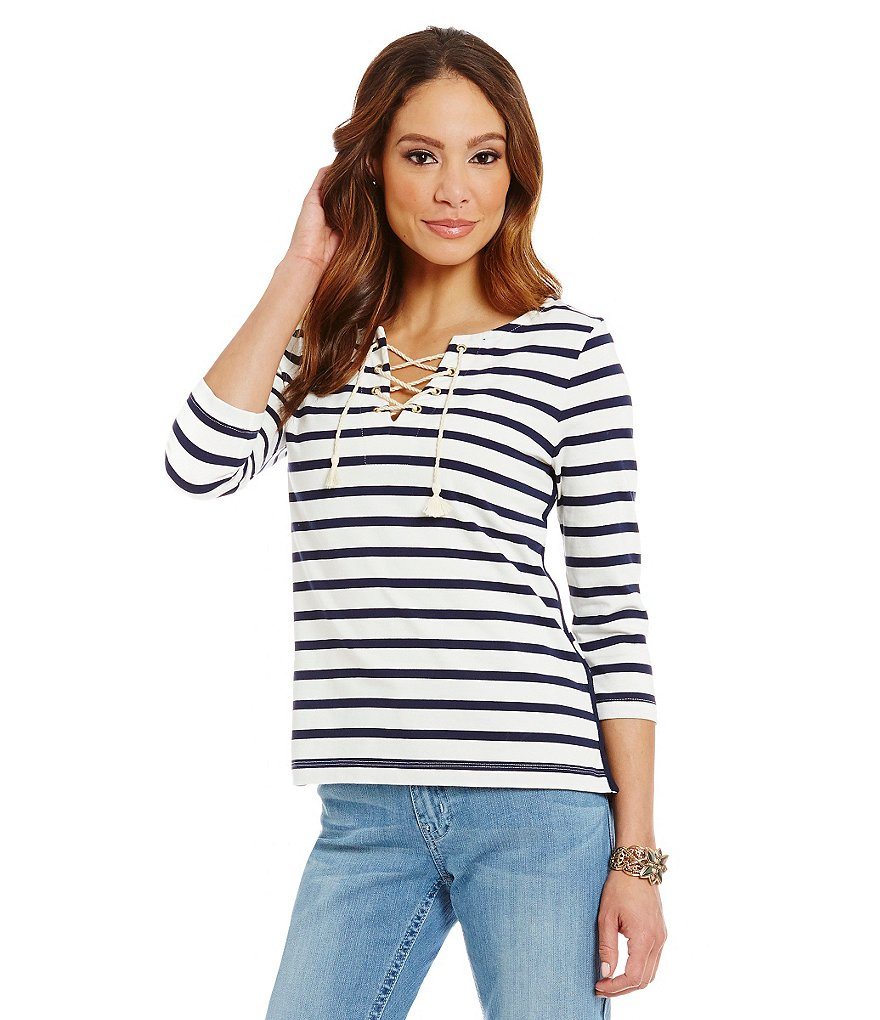 Nurture Stripe-Print Lace-Up Knit Top