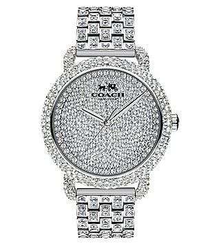 COACH DELANCEY 36MM PAVE STAINLESS STEEL BRACELET WATCH