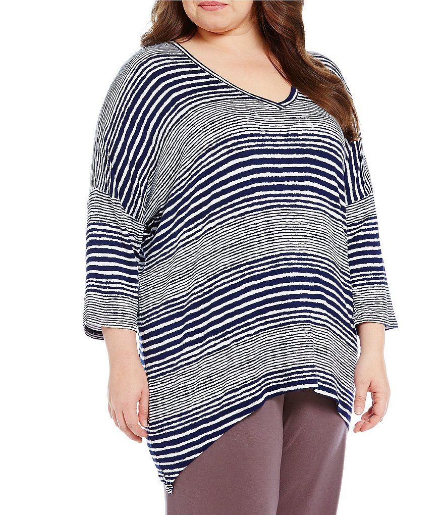 Anne Klein Plus Striped French Terry Sleep Top
