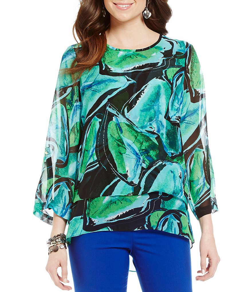 Chaus Fragant Lily Pad Double Layer Blouse