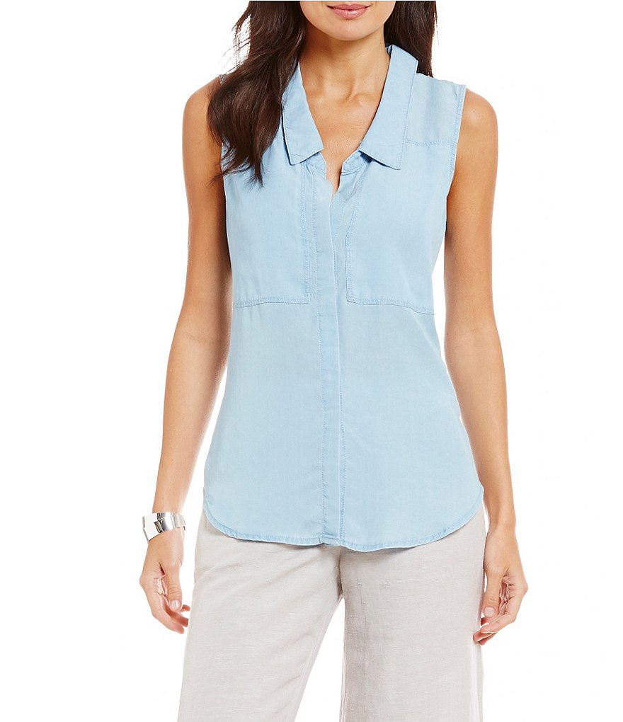 ZOZO Button-Front Denim Top