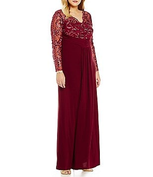 Marina Plus Illusion V-Neck Lace Gown