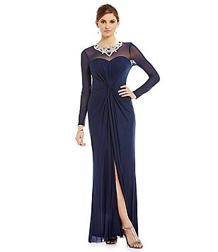 Marina Beaded Neckline Long Gown