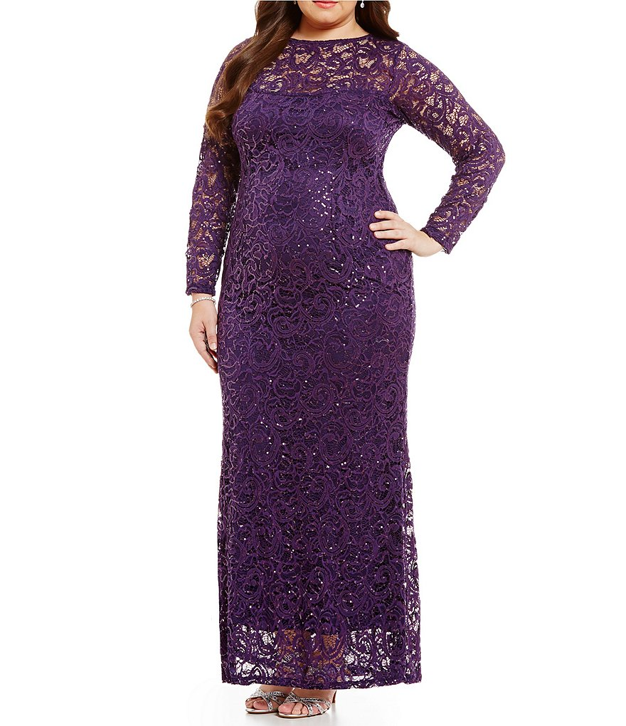 Marina Plus Illusion Sequin Lace Gown