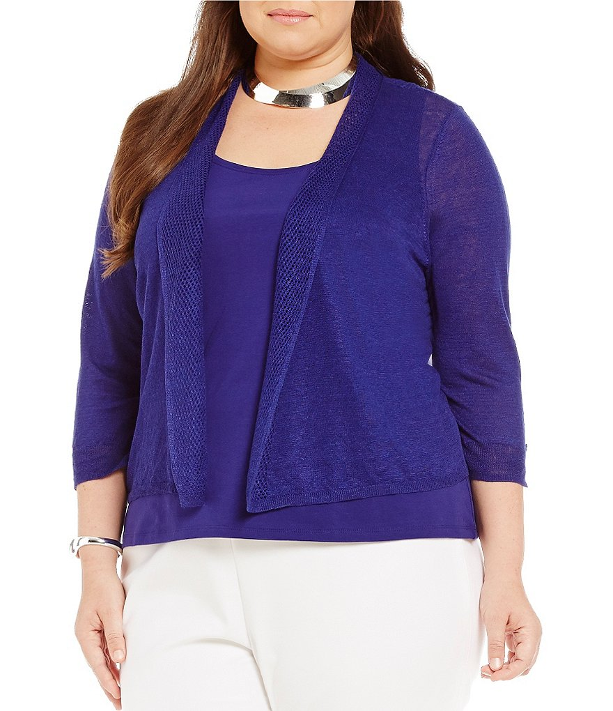 ZOZO Plus Linen-Blend 3/4 Sleeve Open Front Cardigan