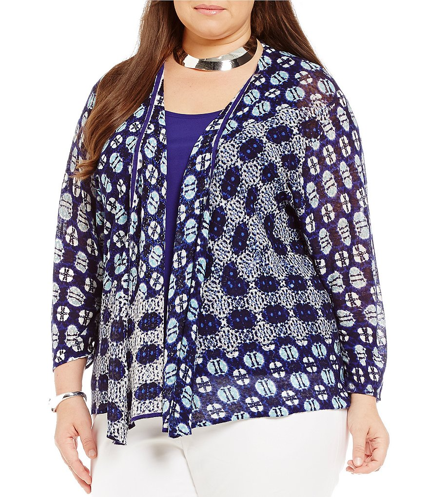 ZOZO Plus Mosaic 4-Way Convertible 3/4 Sleeve Cardigan