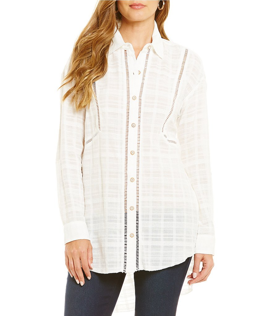 Democracy Textured Button-Down Blouse