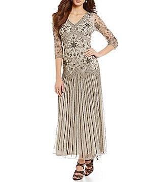Pisarro Nights Petite V-Neck Beaded Mesh Gown