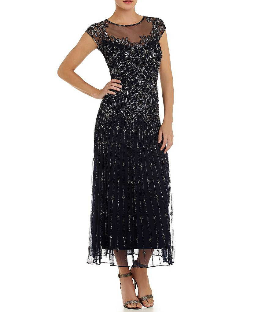 Pisarro Nights Petite Illusion Beaded Gown