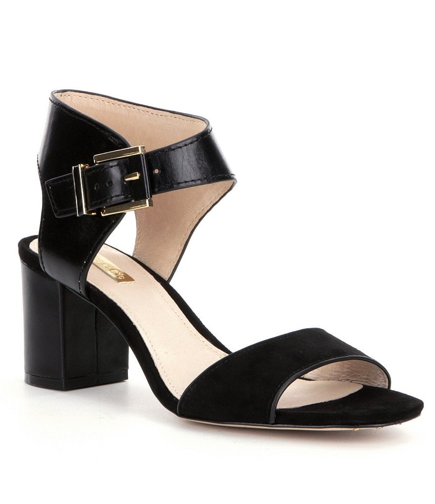 Louise et Cie Kapri Leather & Suede Banded Block Heel Sandals