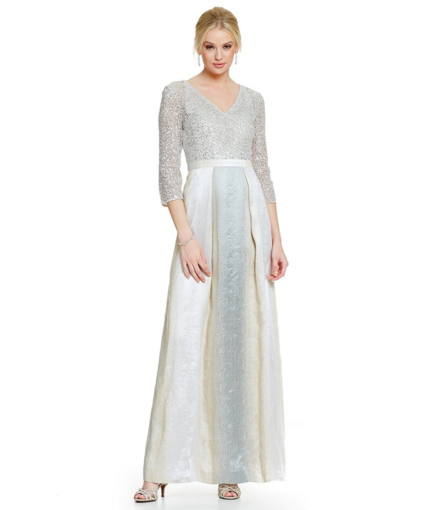 Kay Unger Sequin Lace Bodice w/ Ombre Ball Gown