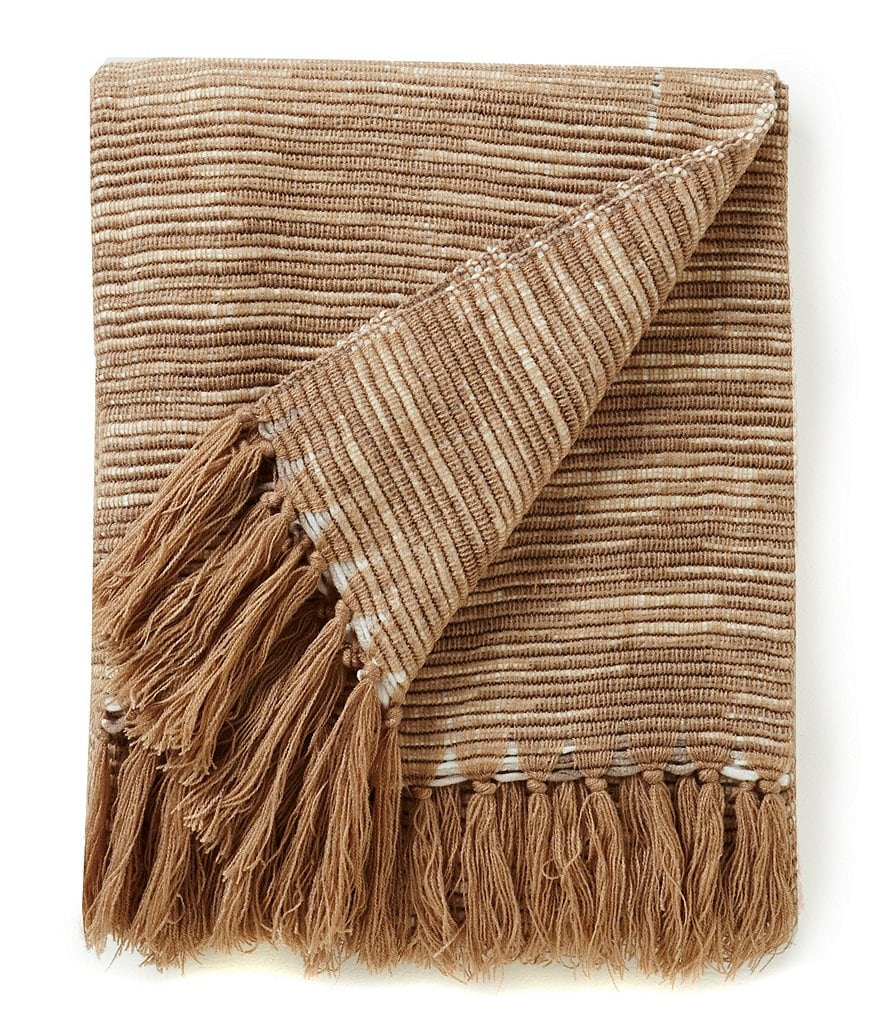 Noble Excellence Naturals Fringed Cross-Weave Throw