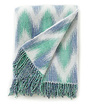 Noble Excellence Ikat Chevron Fringed Throw