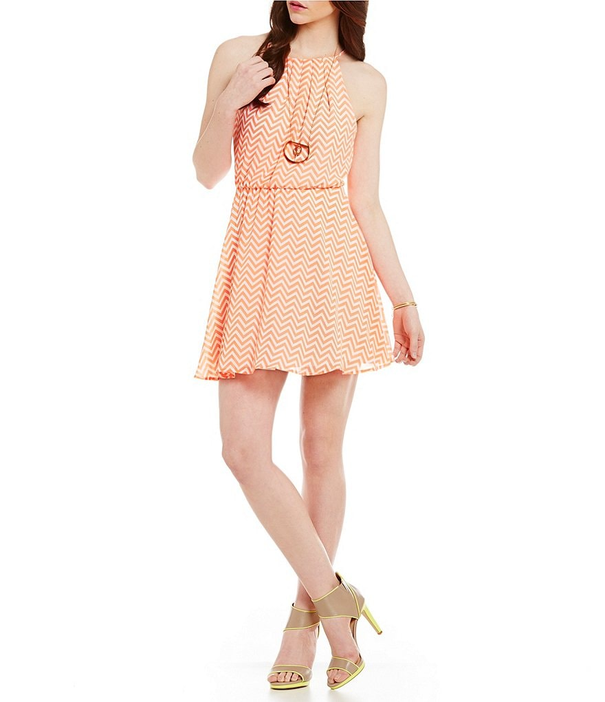 Takara High-Neck Chevron Dress