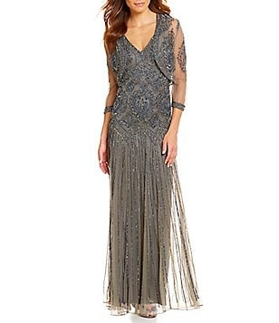 Pisarro Nights Petite Beaded Bolero Jacket Dress